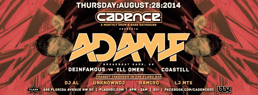 THU Aug 28 | Cadence presents Adam F at Flash