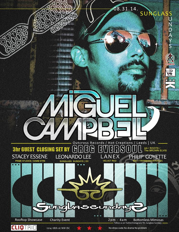 SUNGLASS SUNDAYS  w/ MIGUEL CAMPBELL & GREG EVERSOUL | LABOR DAY WEEKEND extended hours | Daytime Rooftop Charity Event