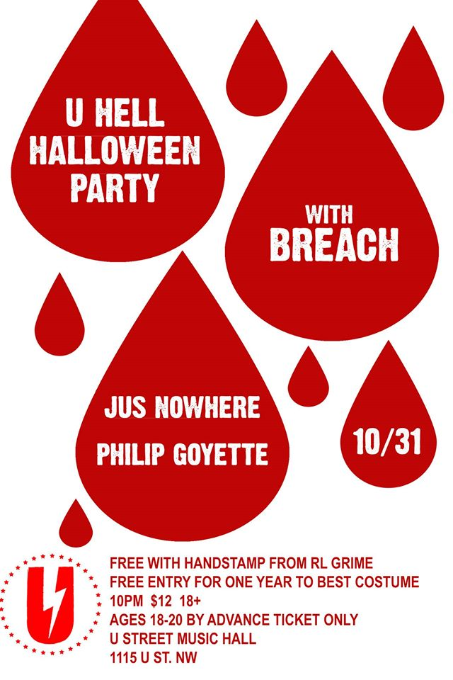 U Hell Halloween party with BrEaCh and Jus Nowhere B2B Philip Goyette