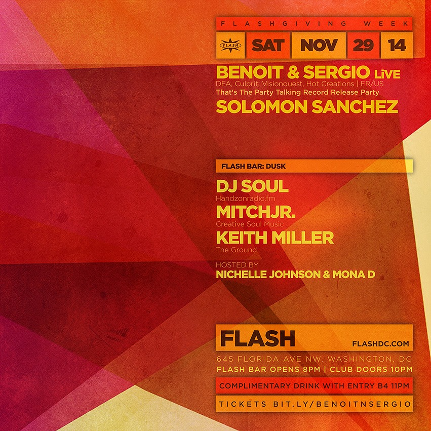 Benoit & Sergio (LiVE), Solomon Sanchez at Flash, with DUSK in the Flash Bar