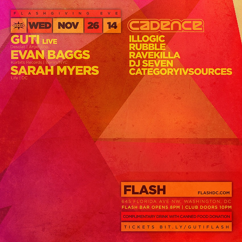 Flashgiving Eve: Guti (LiVE), Evan Baggs (Kurbits Records | Berlin/NYC), Sarah Myers at Flash + Cadence Local Showcase in the Flash Bar