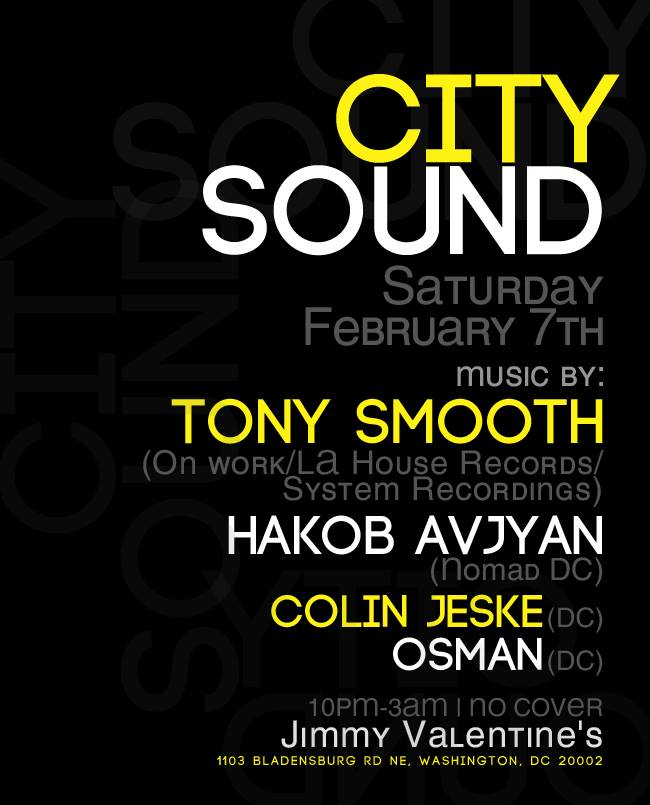 Deep Vision present: City Sounds w/ Tony Smooth, Hakob, Colin Jeske, and Osman at Jimmy Valentines