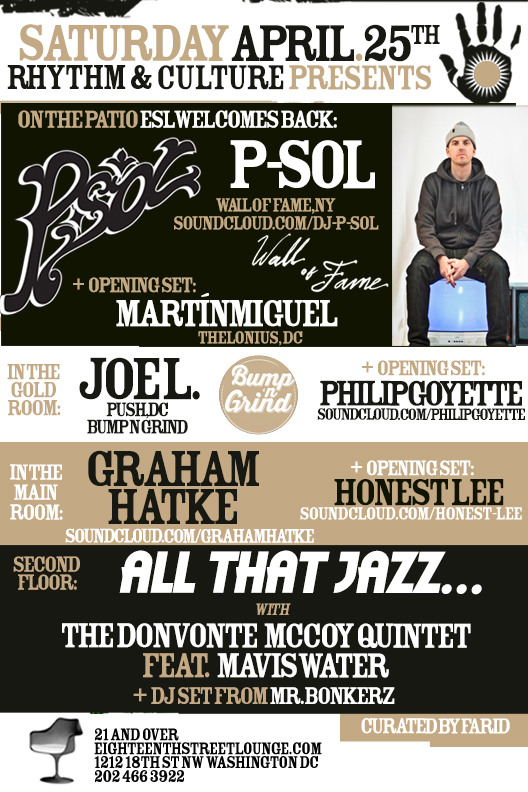 ESL Saturdays with P-Sol, Martín Miguel, Joe L, Philip Goyette, Graham Hatke, Honest Lee & Mr. Bonkerz at Eighteenth Street Lounge