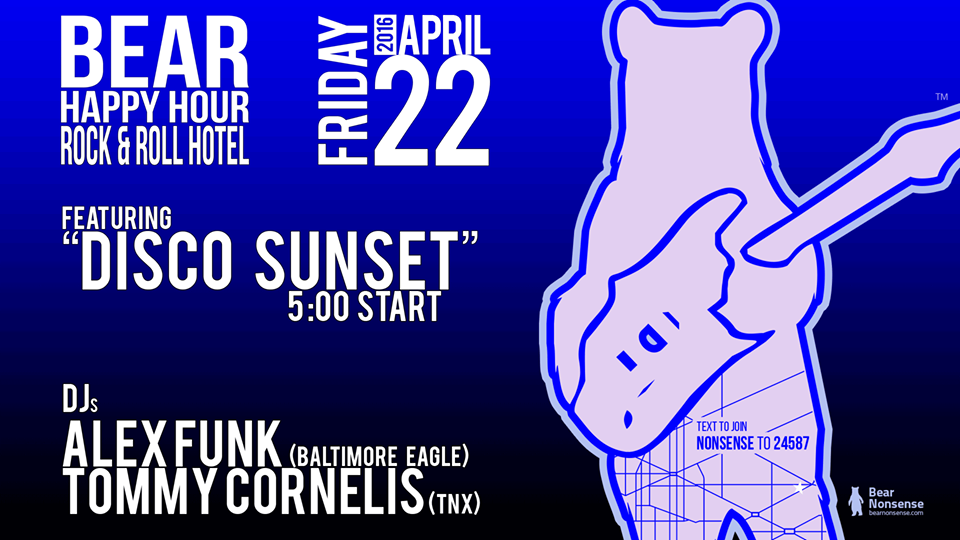 Bear Happy Hour featuring DJs Alex Funk & Tommy Cornelis at Rock'n'Roll Hotel
