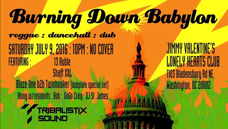 Burning Down Babylon with Shaft XXL, 13 Ruble, Bob, Gogo Craig and DJ St. James at Jimmy Valentine's Lonely Hearts Club