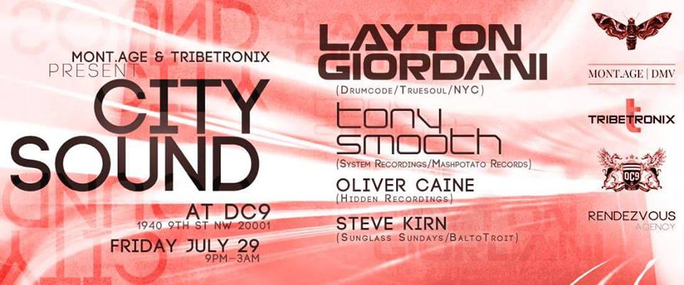 City Sound with Layton Giordani (Drumcode | NYC), Tony Smooth, Oliver Caine and Steve Kirn at DC9 Nightclub