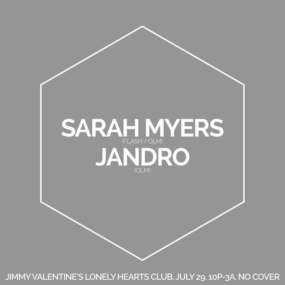Reflections with Sarah Myers and Jandro at Jimmy Valentine's Lonely Hearts Club