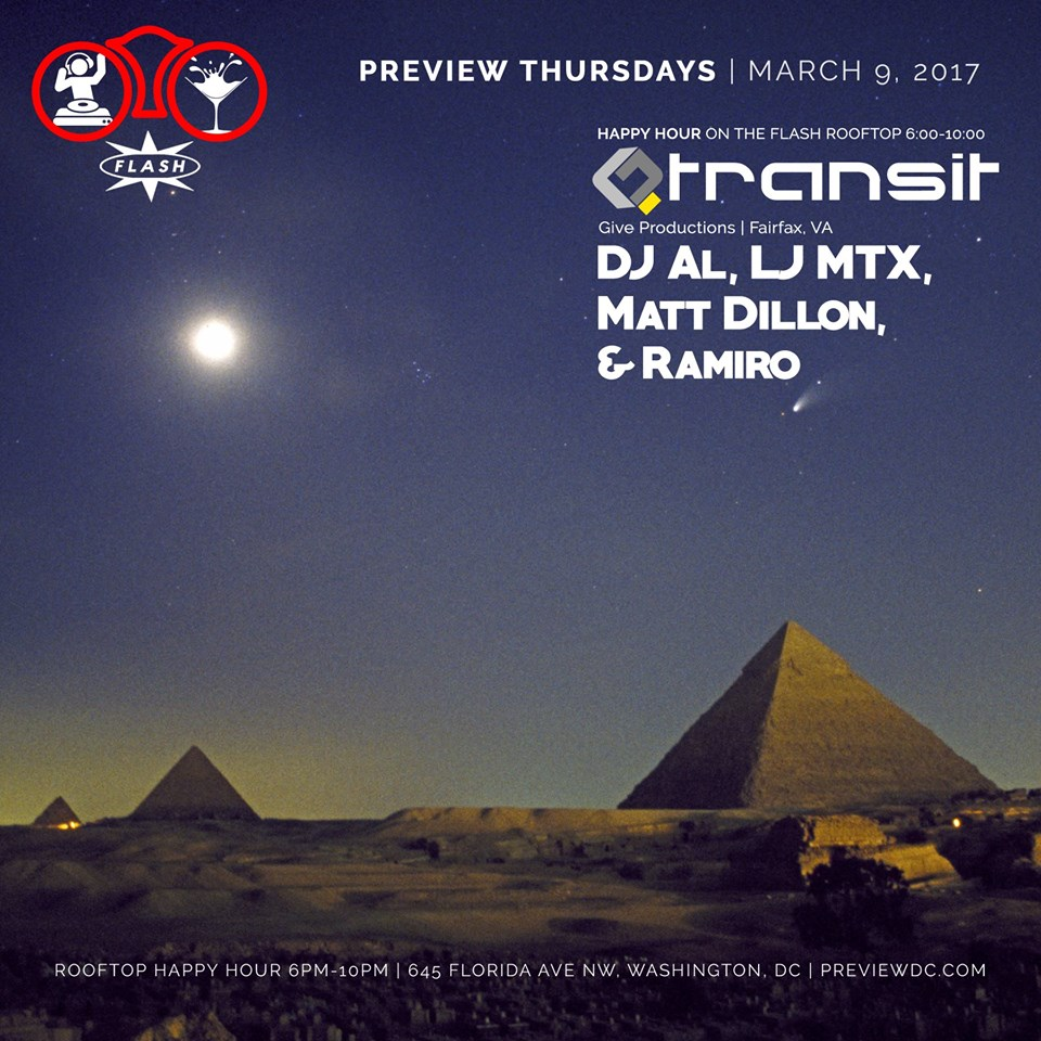 Preview Rooftop Happy Hour Transit Takeover with DJ Al, LJ MTX, Matt Dillon & Ramiro at Flash