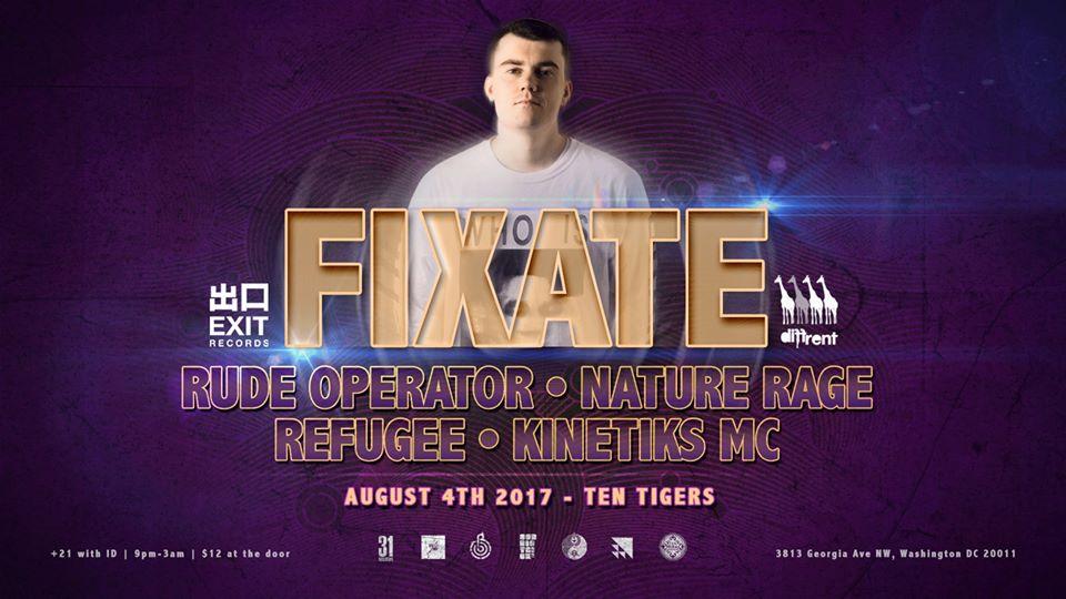 Subdistrick & Amalgamation presents Fixate with Rude Operator, Nature Rage, Refugee & Kinetiks MC at Ten Tigers Parlour