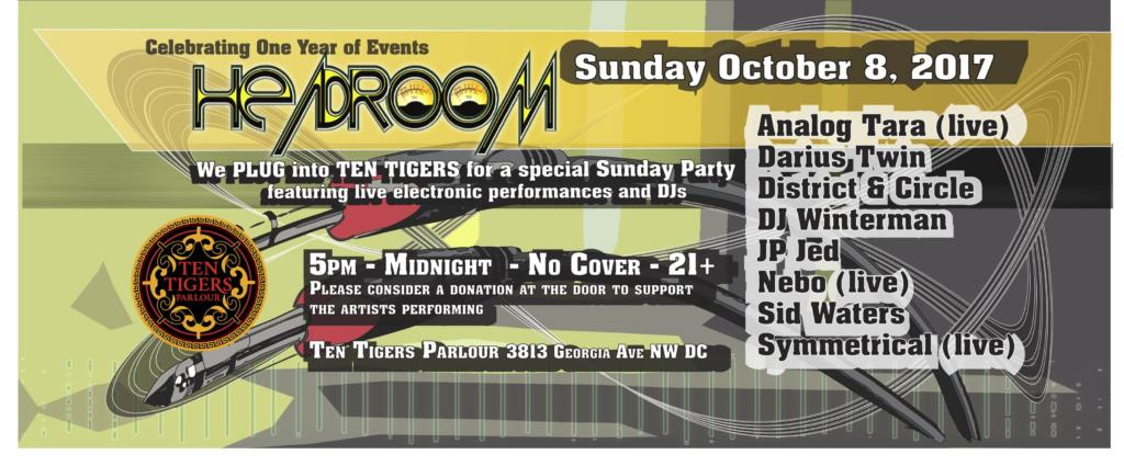 Headroom Sunday Party with Analog Tara, Darius Twin, District & Circle, DJ Winterman, JP Jed, Nebo, Sid Waters & Symmetrical at Ten Tigers Parlour
