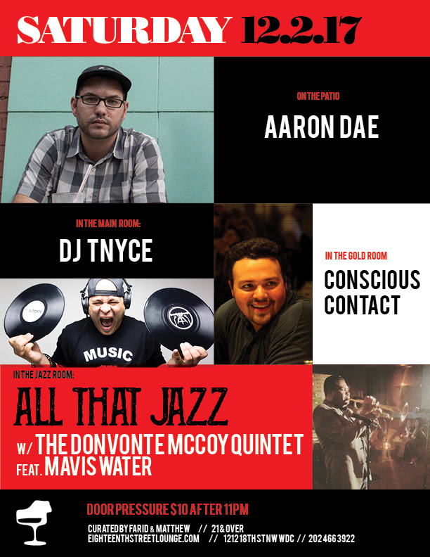 ESL Saturday with Aaron Dad, DJ Tnyce & Conscious Contact at Eighteenth Street Lounge