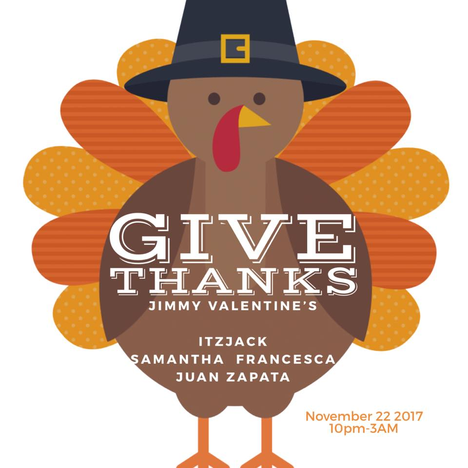 Give Thanks with Juan Zapata, Samantha Francesca & Itzjack at Jimmy Valentine's Lonely Hearts Club