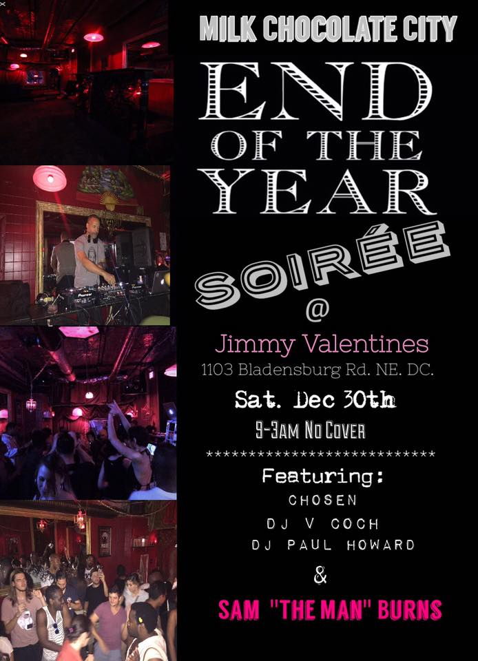 """End of the year Soirée with Sam """"The Man"""" Burns, Chosen, DJ V Coch & DJ Paul Howard at Jimmy Valentine's Lonely Hearts Club"""