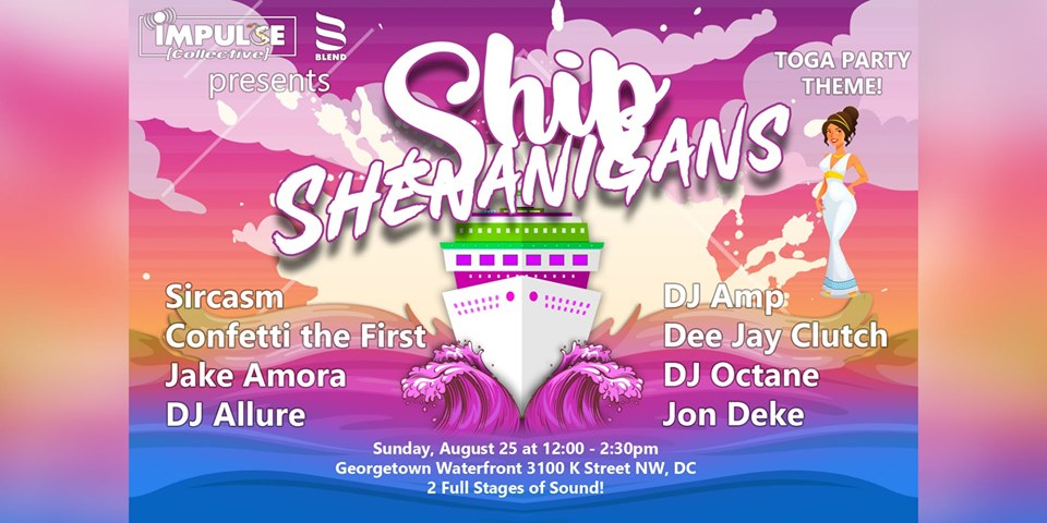 ship shenanigans toga themed boat party
